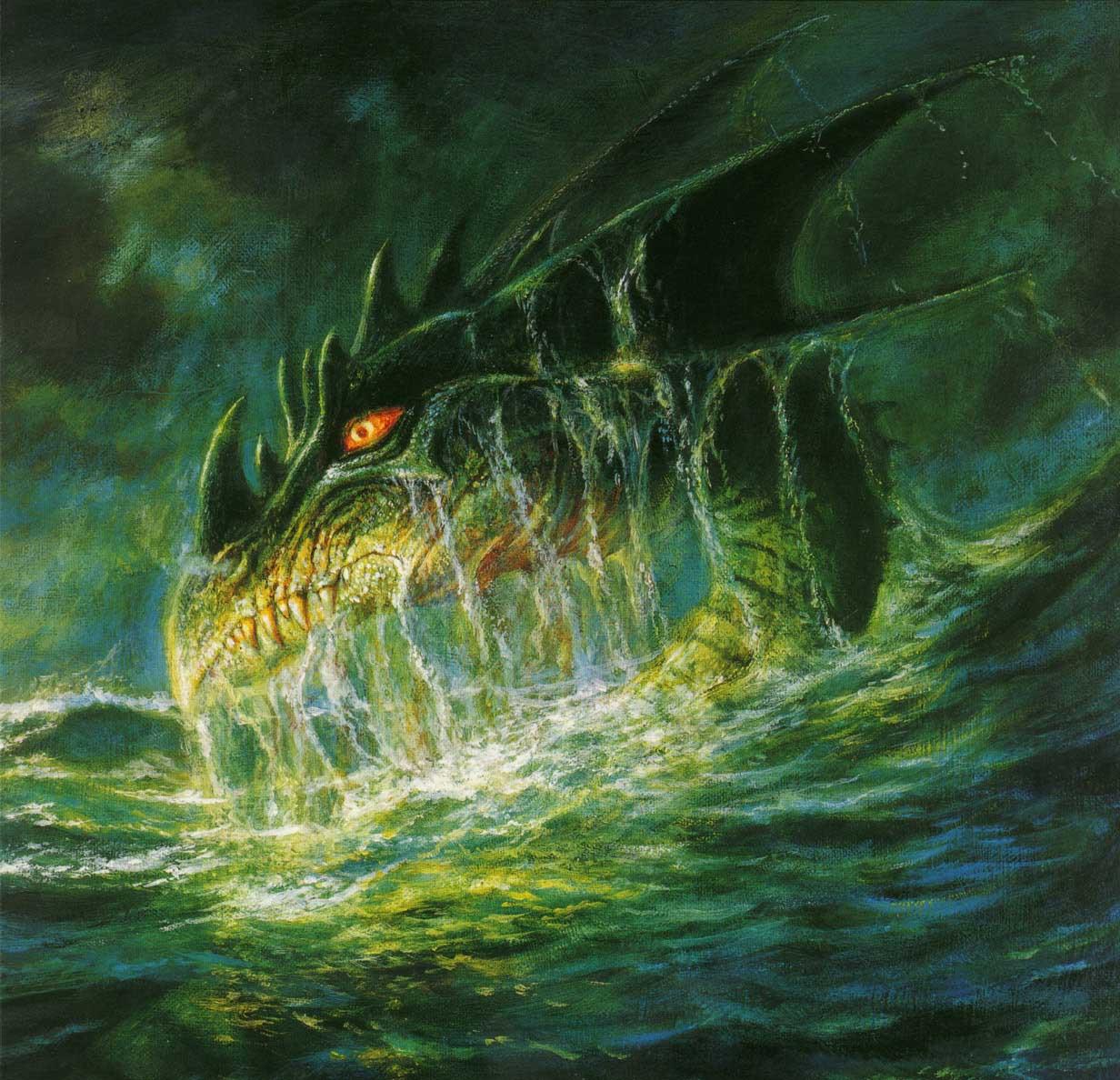 Он дарил людям воду, орошал поля крестьян.Морские драконы жили в